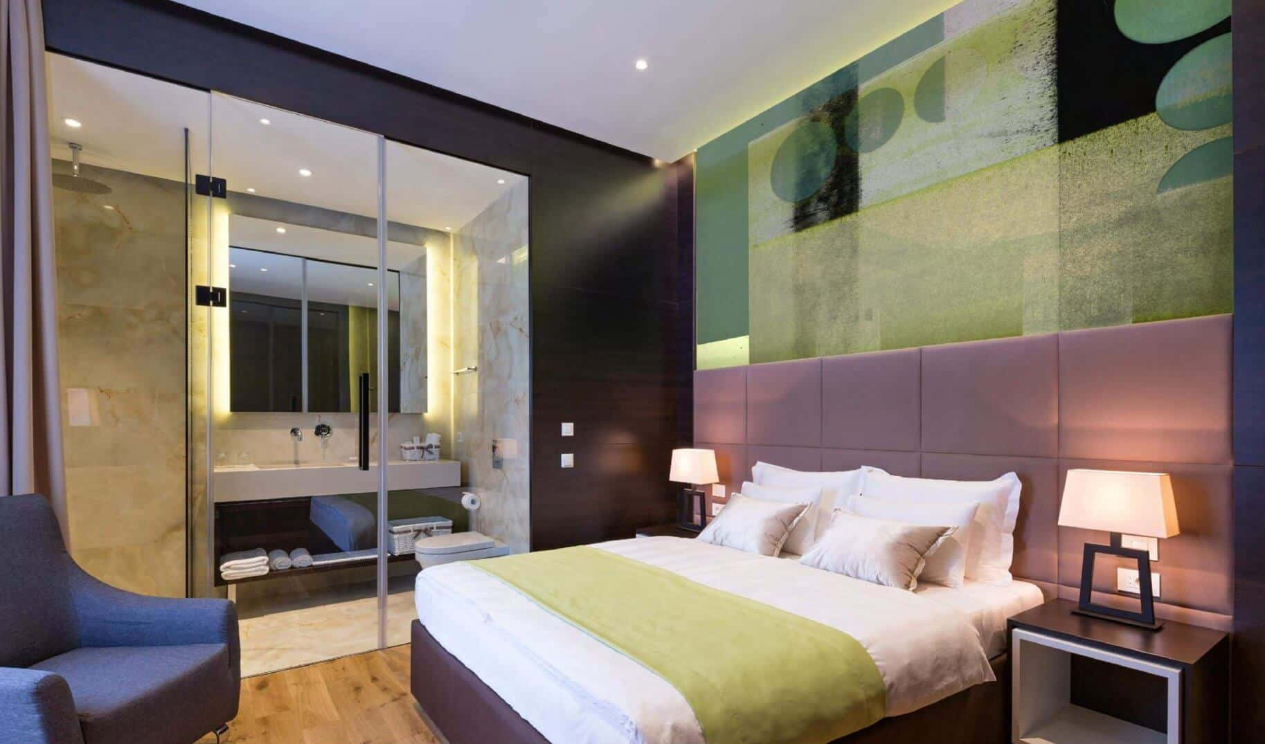 green contemporary art hotel room hospitality art consultants