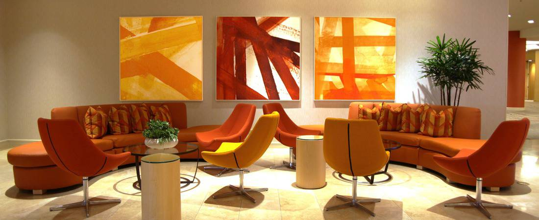 orange red contemporary art hotel amenity area hospitality art consultants